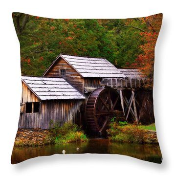 Fall At Mabry Mill Throw Pillow