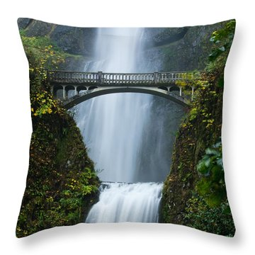 Fall At Multnomah Falls Throw Pillow by Don Schwartz