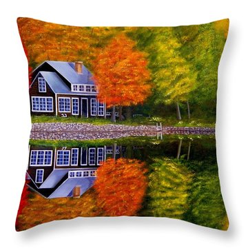 Fall At The Cabin Throw Pillow