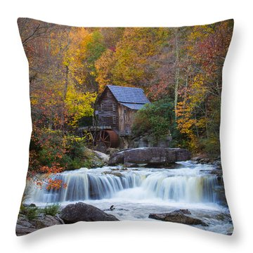 Mill At Babcock State Park Throw Pillow