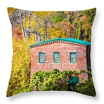 Fall At The Old Mill In Roswell Throw Pillow