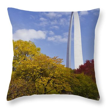 Fall At The St Louis Arch Throw Pillow