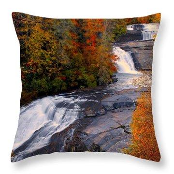 Fall At Triple Falls Throw Pillow