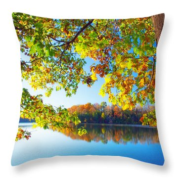 Fall By The Lake Throw Pillow