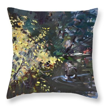 Fall By The Pond Throw Pillow