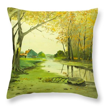 Fall By The Stream By Merlin Reynolds Throw Pillow