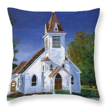 Fall Church Throw Pillow by Lynne Reichhart