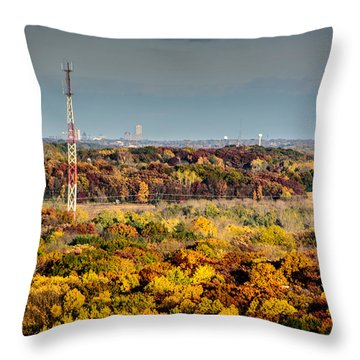 Fall Color And Downtown Throw Pillow