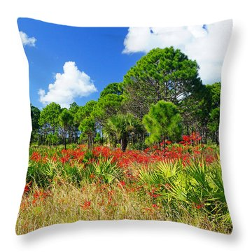 Longleaf Pines Flatwoods Christmas Color Throw Pillow