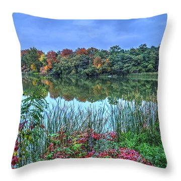 Throw Pillow featuring the photograph Fall Colors At Blue Hour Near Zegrze by Julis Simo