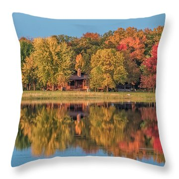 Fall Colors In Cabin Country Throw Pillow