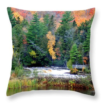 Fall Colors On The  Tahquamenon River   Throw Pillow by Optical Playground By MP Ray