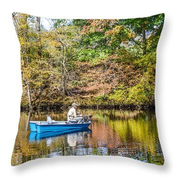Throw Pillow featuring the photograph Fishing Reflection by Debbie Green