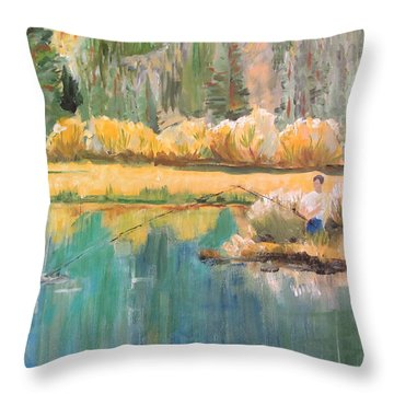 Fall Fishin Throw Pillow