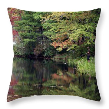 Fall Fishing  Throw Pillow