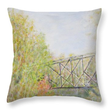 Fall Foliage And Bridge In Nh Throw Pillow