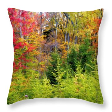 Fall Forest Foliage Throw Pillow by Lanjee Chee