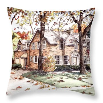 Fall Home Portriat Throw Pillow