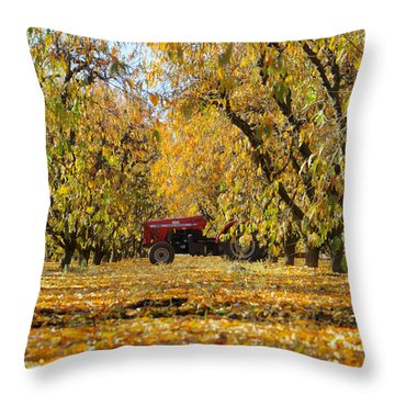 Fall In The Peach Orchard Throw Pillow by Jim And Emily Bush