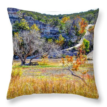 Fall In The Texas Hill Country Throw Pillow by Savannah Gibbs