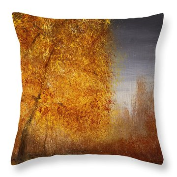 Fall Lake Reflections Throw Pillow by Gray  Artus