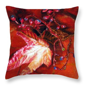 Fall Leaf And Berries Throw Pillow by LaVonne Hand