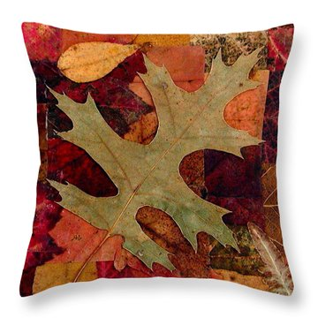 Throw Pillow featuring the mixed media Fall Leaf Collage by Anna Ruzsan