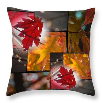 Fall Leaf Collage Throw Pillow