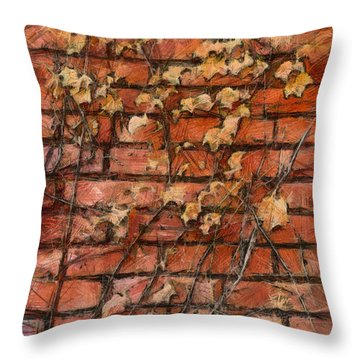 Fall Leaves On Red Brick Wall Throw Pillow by Michael Flood