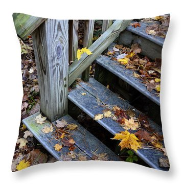 Fall Leaves On Steps Throw Pillow