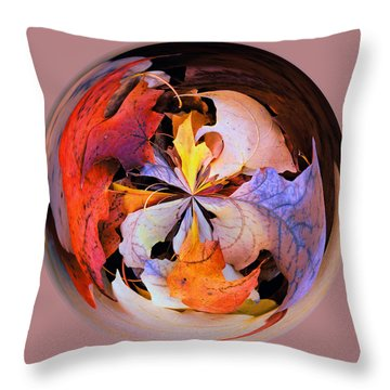 Fall Leaves Orb Throw Pillow