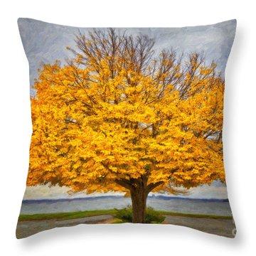 Fall Linden Throw Pillow by Verena Matthew