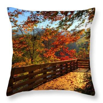 Fall Morning Walk Throw Pillow
