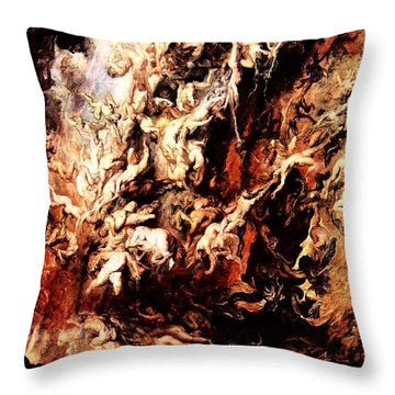 Fall Of The Rebel Angels Throw Pillow by Peter Paul Rubens