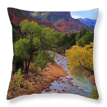 Throw Pillow featuring the photograph Fall On North Fork Virgin River by Viktor Savchenko