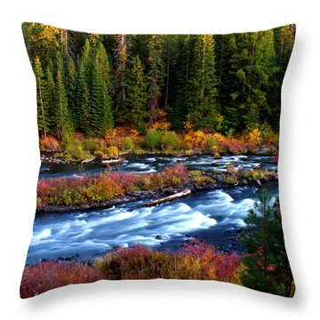 Throw Pillow featuring the photograph Fall On The Deschutes River by Kevin Desrosiers