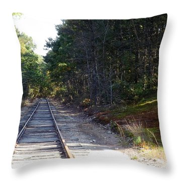 Fall Railroad Track To Somewhere Throw Pillow