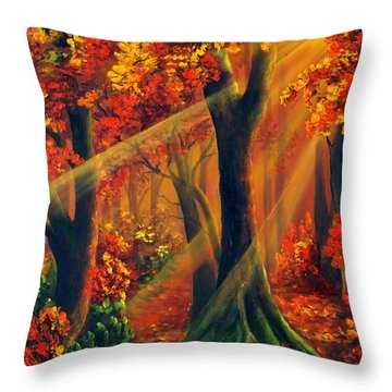 Fall Rays Throw Pillow