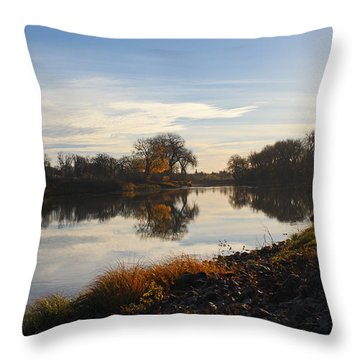 Fall Red River At Sunrise Throw Pillow