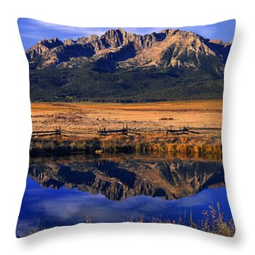 Fall Reflections Sawtooth Mountains Idaho Throw Pillow
