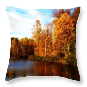 Throw Pillow featuring the photograph Fall Scene At Hedden Pond With Orton Effect by Eleanor Abramson