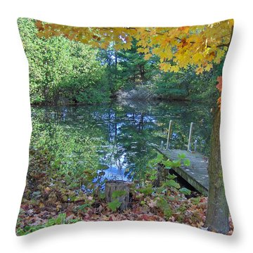 Throw Pillow featuring the photograph Fall Scene By Pond by Brenda Brown