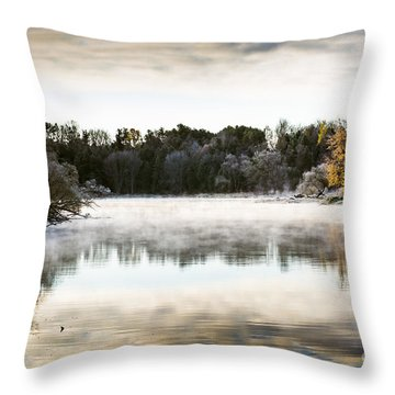 Fall Scene On The Mississippi Throw Pillow by Cheryl Baxter