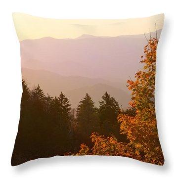 Fall Smoky Mountains Throw Pillow by Melinda Fawver