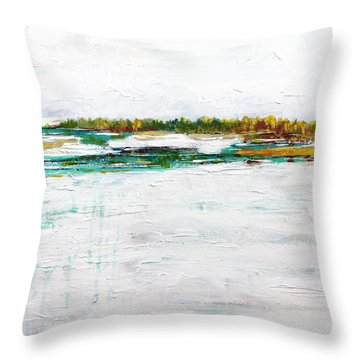 Fall Snow In The Northwest Throw Pillow by Marti Green