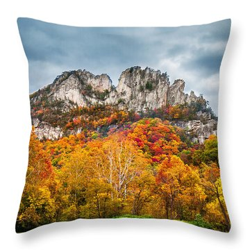 Fall Storm Seneca Rocks Throw Pillow by Mary Almond