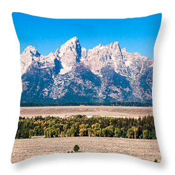 Fall Tetons Panorama   Throw Pillow