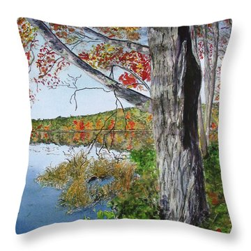 Fall Tree Throw Pillow by Carol Flagg