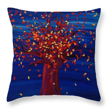 Throw Pillow featuring the painting Fall Tree Fantasy By Jrr by First Star Art