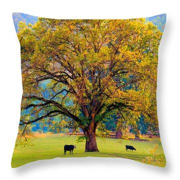 Fall Tree With Two Cows Throw Pillow